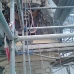 Elektrickerkranz und StuckBlenden aus Beton(tuffsteinimmitation)