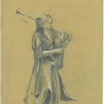 Zeichnung auf ungebleichtem Papier mit weißer Kreide