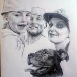 Familie mit Hund Bleistift auf Papier  A3 Pencil of white paper A3