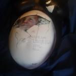 Airbrush , mit dem Namen und den Daten des Babys