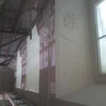Stuckleibung, alle drei untere Fensterleibungen fertig restauriert und gestrichen